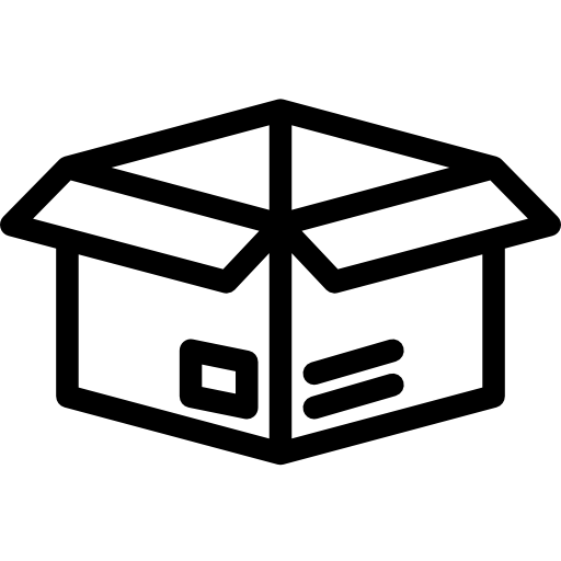 A simple icon of an open cardboard box.
