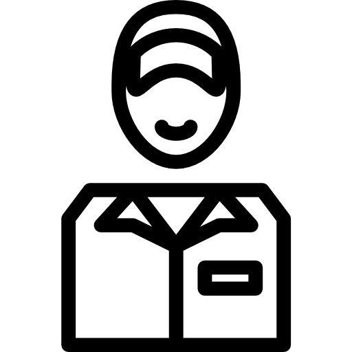 A simple icon of a friendly workman.