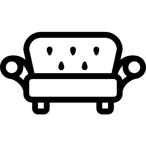 A simple icon of a sofa.
