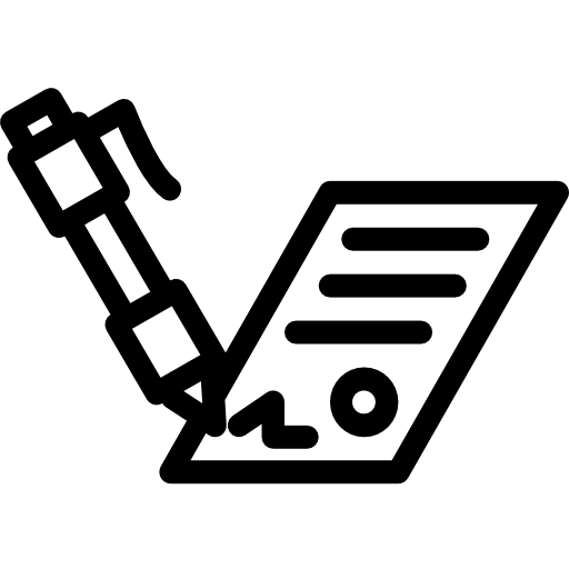 A simple icon of a pen writing on paper.
