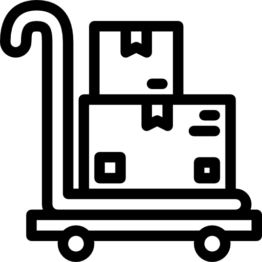 A simple icon of two boxes on a trolley.